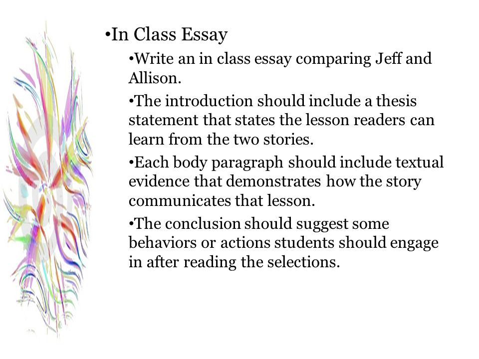 In Class Essay Write an in class essay comparing Jeff and Allison.