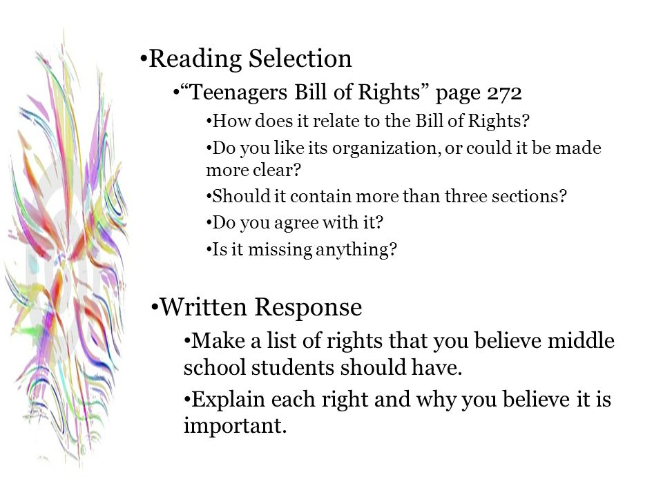 Reading Selection Written Response Teenagers Bill of Rights page 272