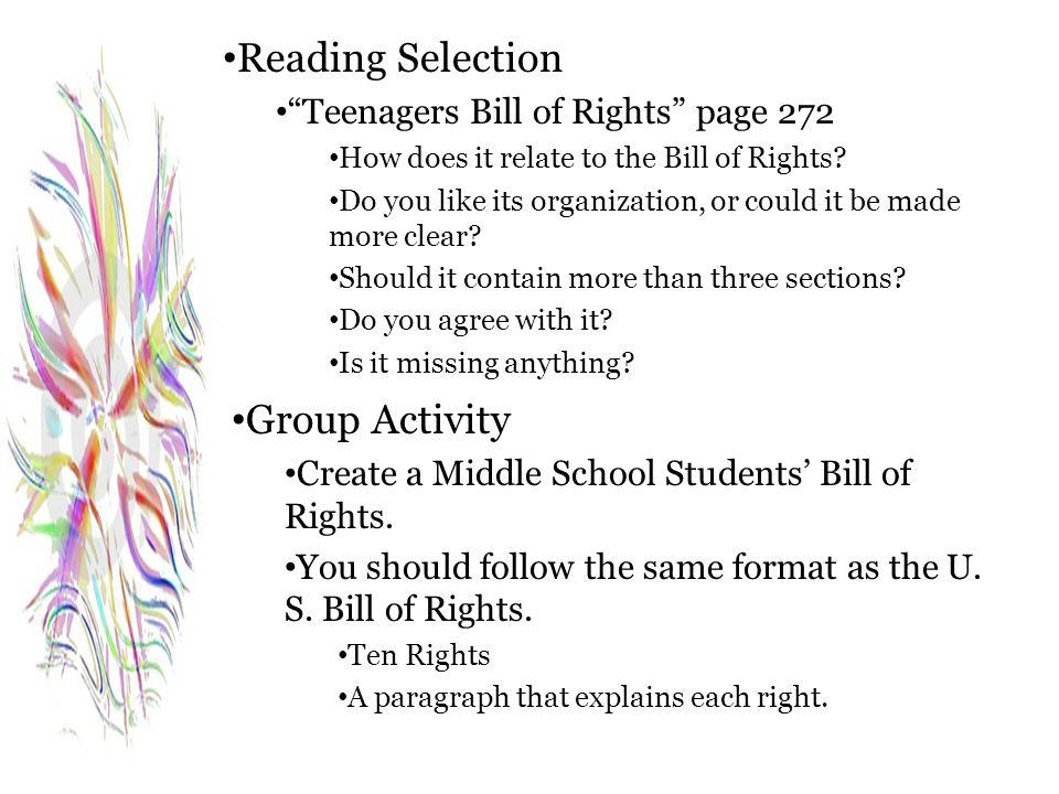 Reading Selection Group Activity Teenagers Bill of Rights page 272