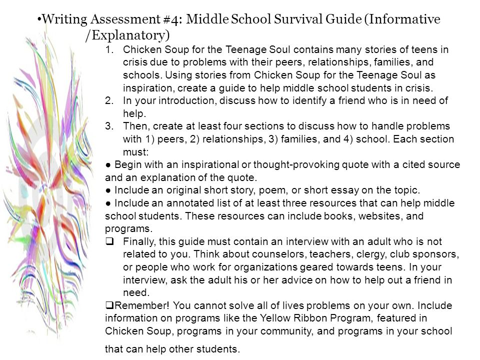 Writing Assessment #4: Middle School Survival Guide (Informative