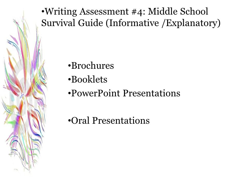 Writing Assessment #4: Middle School Survival Guide (Informative /Explanatory)