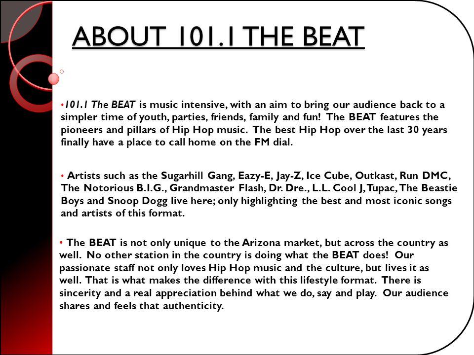 ABOUT 101.1 THE BEAT