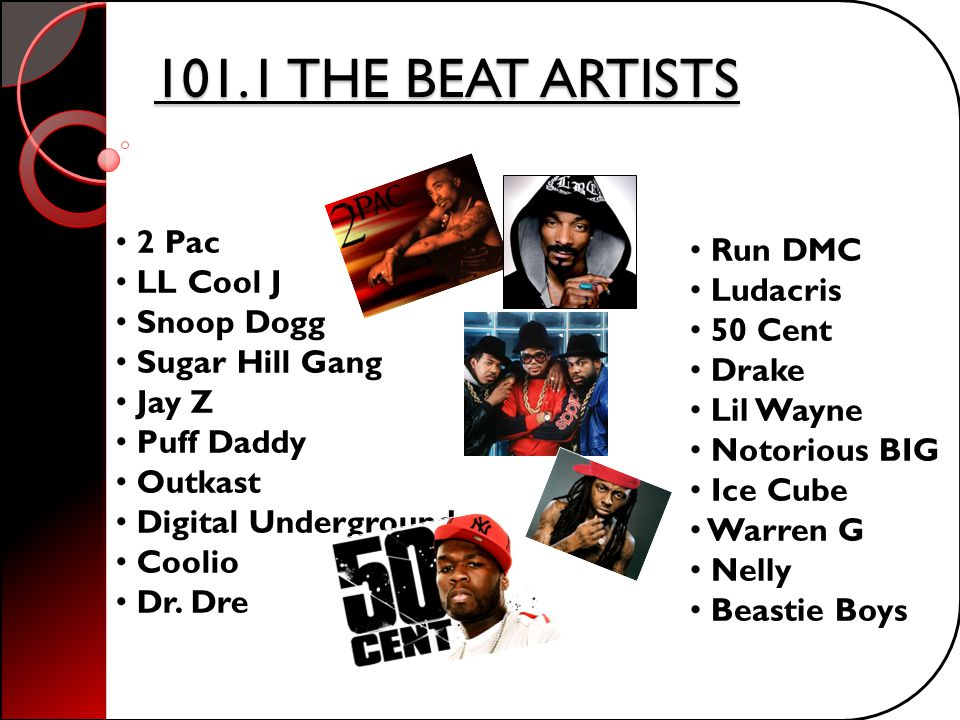 101.1 THE BEAT ARTISTS 2 Pac Run DMC LL Cool J Ludacris Snoop Dogg