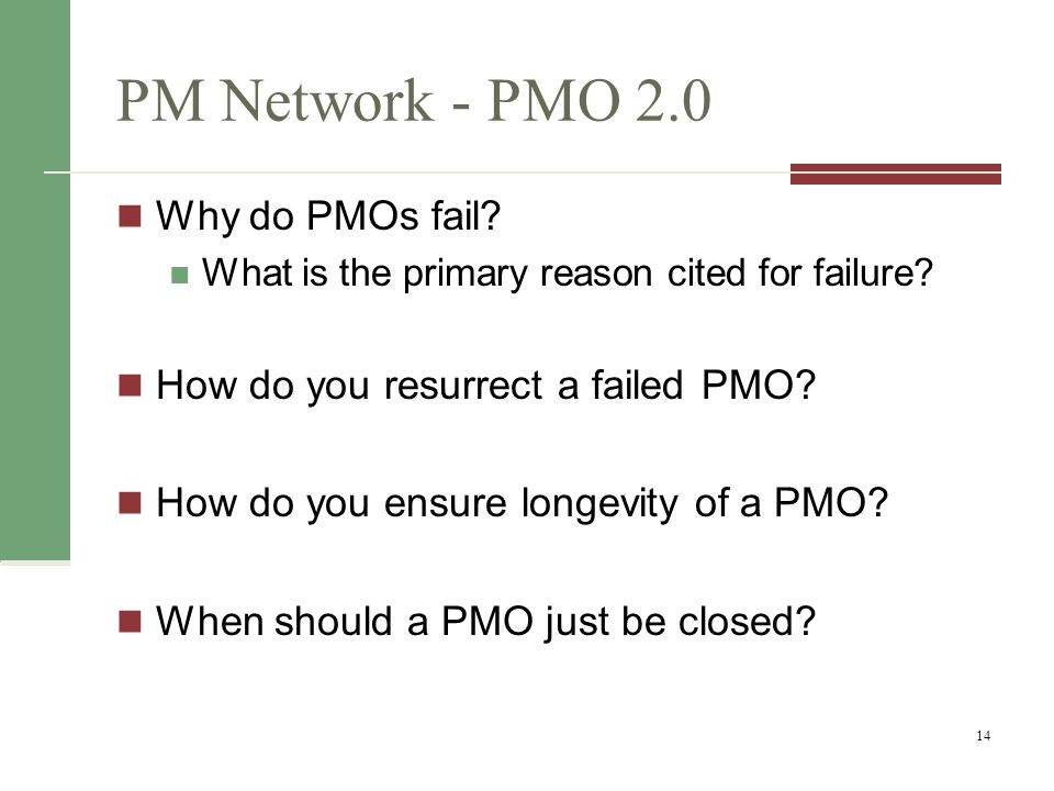 PM Network - PMO 2.0 Why do PMOs fail