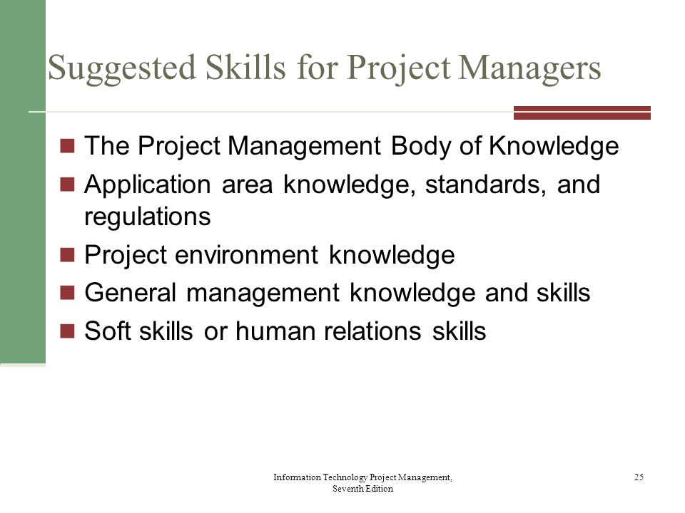 Suggested Skills for Project Managers