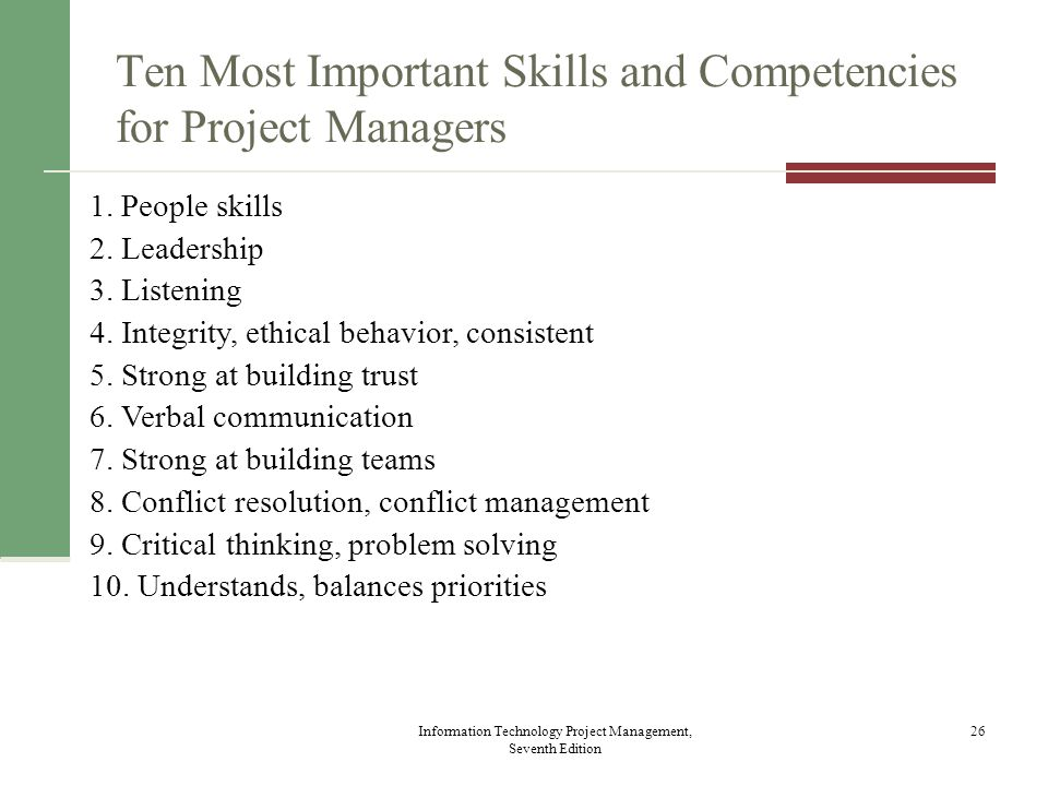 Ten Most Important Skills and Competencies for Project Managers