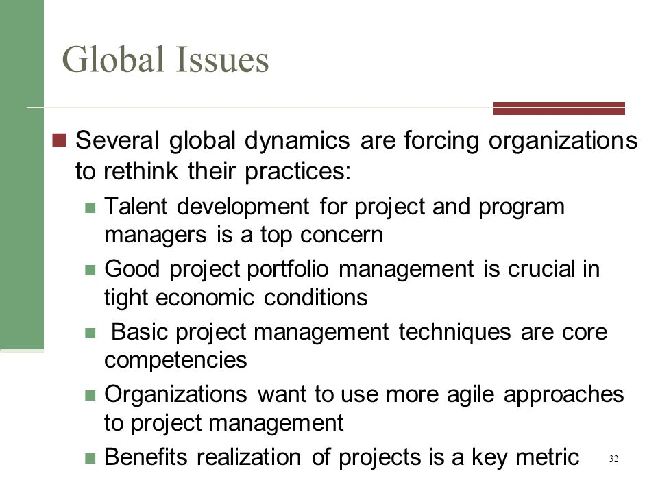 Global Issues Several global dynamics are forcing organizations to rethink their practices: