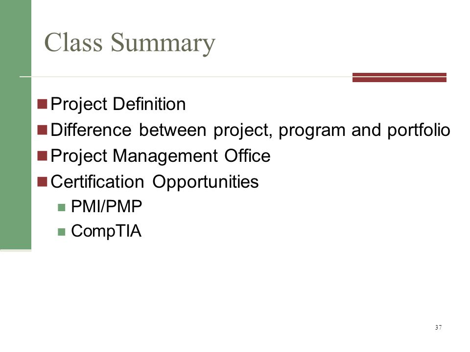 Class Summary Project Definition