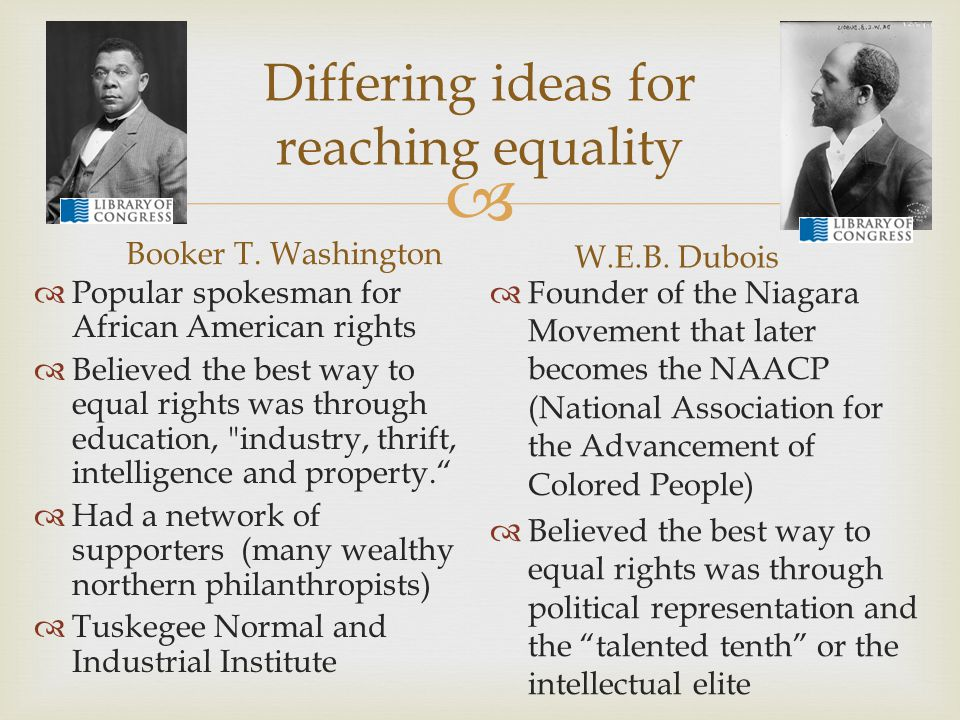 Differing ideas for reaching equality