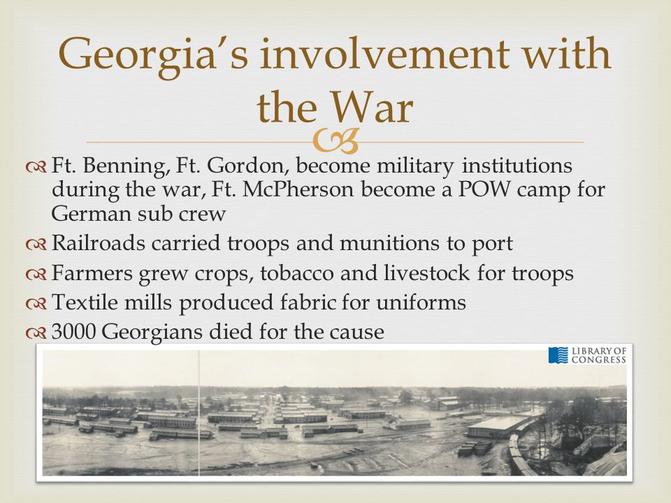 Georgia's involvement with the War