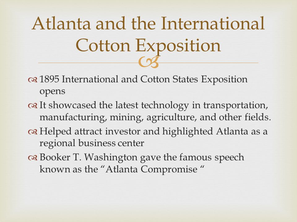 Atlanta and the International Cotton Exposition