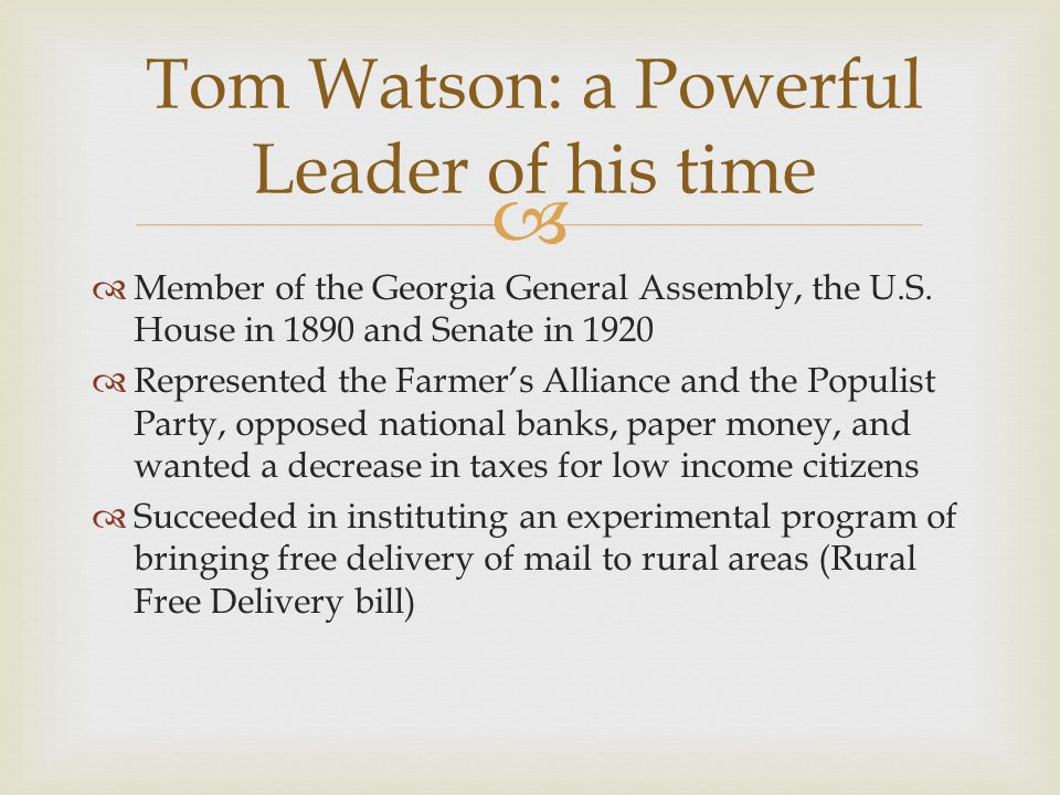 Tom Watson: a Powerful Leader of his time