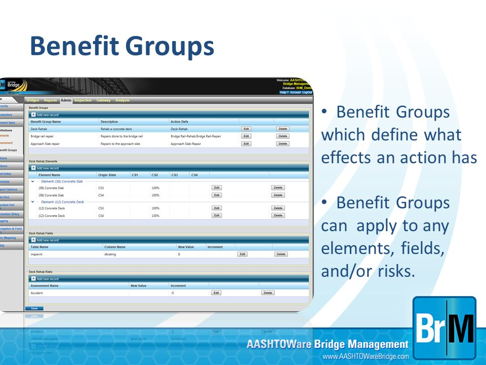 Benefit Groups Benefit Groups which define what effects an action has