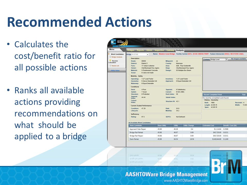 Recommended Actions Calculates the cost/benefit ratio for all possible actions.