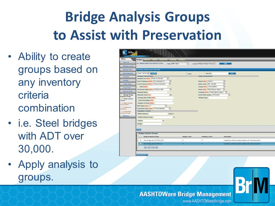 Bridge Analysis Groups to Assist with Preservation