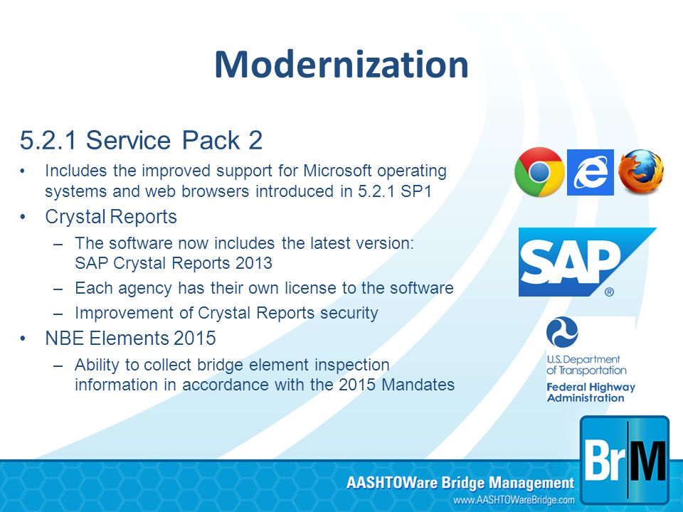 Modernization 5.2.1 Service Pack 2 Crystal Reports NBE Elements 2015