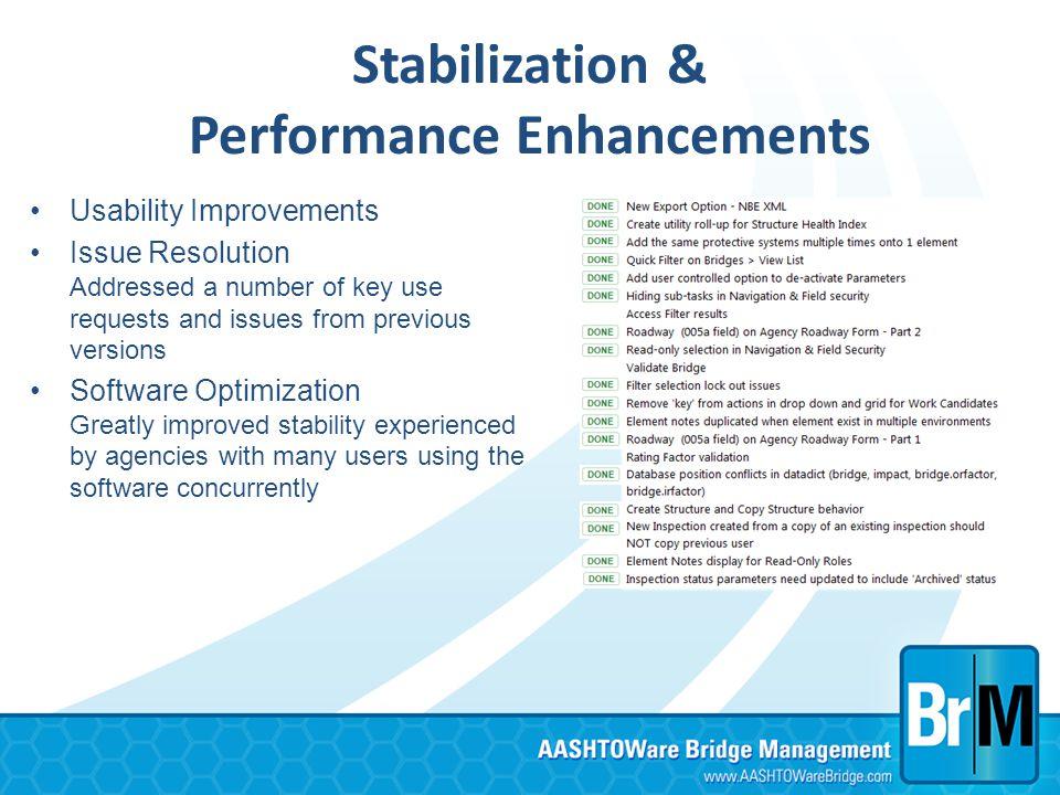Stabilization & Performance Enhancements