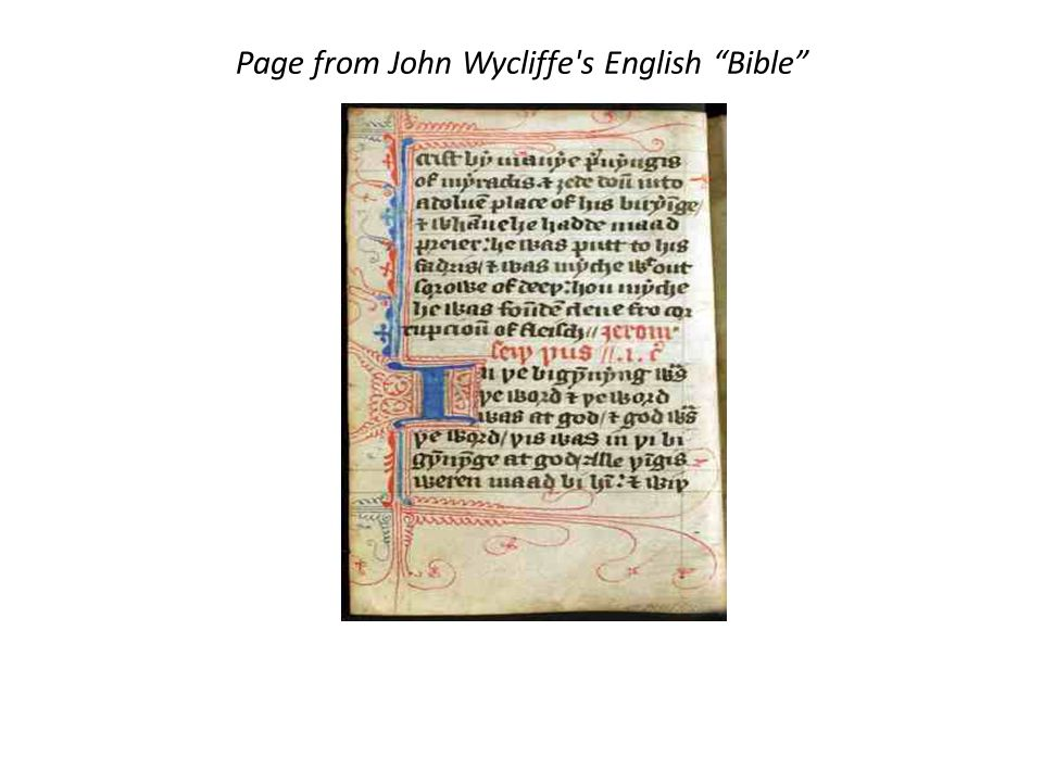 Page from John Wycliffe s English Bible