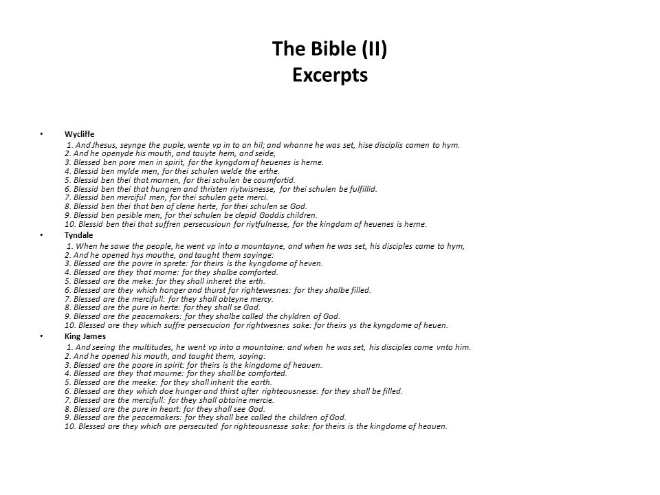 The Bible (II) Excerpts