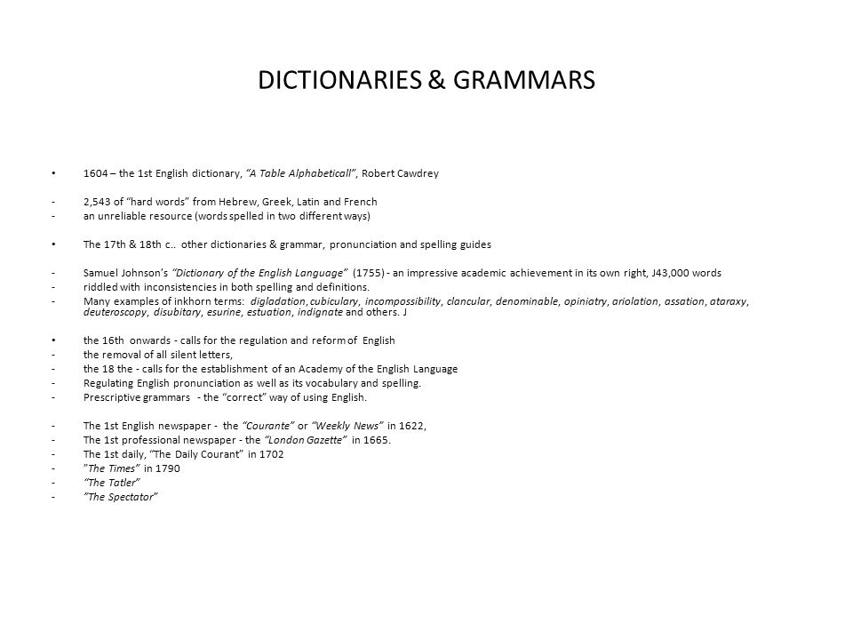 DICTIONARIES & GRAMMARS
