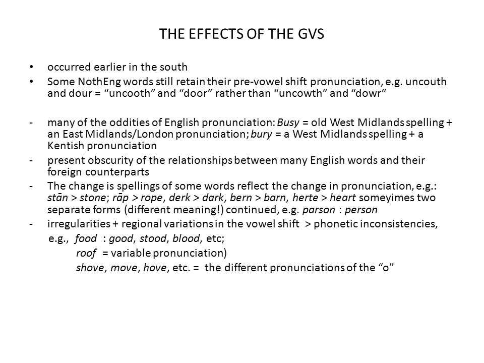THE EFFECTS OF THE GVS occurred earlier in the south