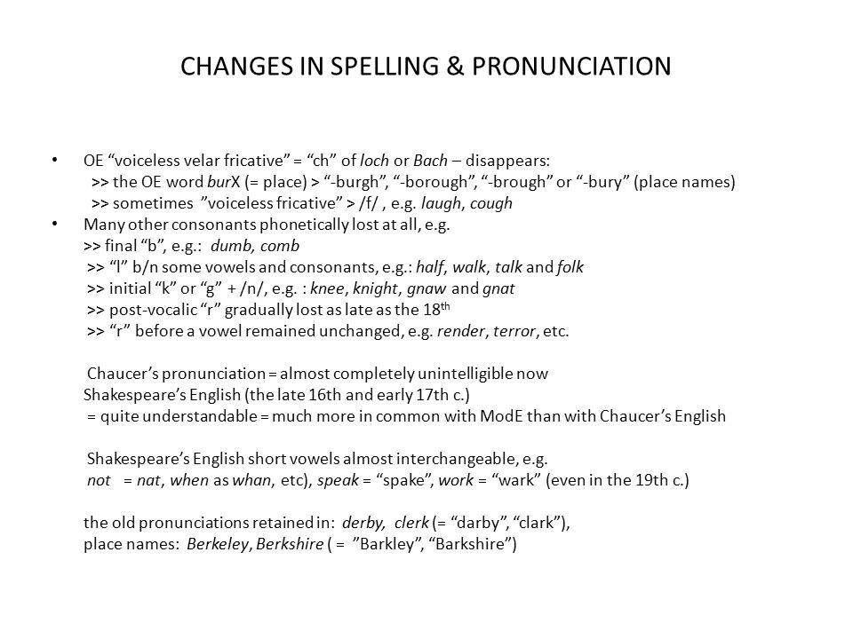 CHANGES IN SPELLING & PRONUNCIATION