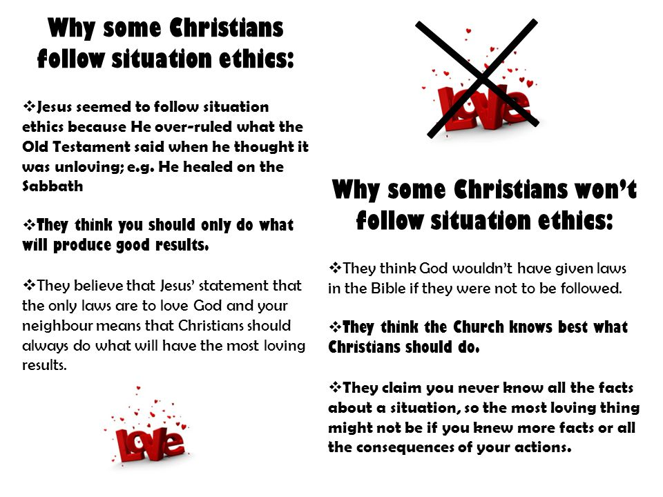 Why some Christians follow situation ethics: