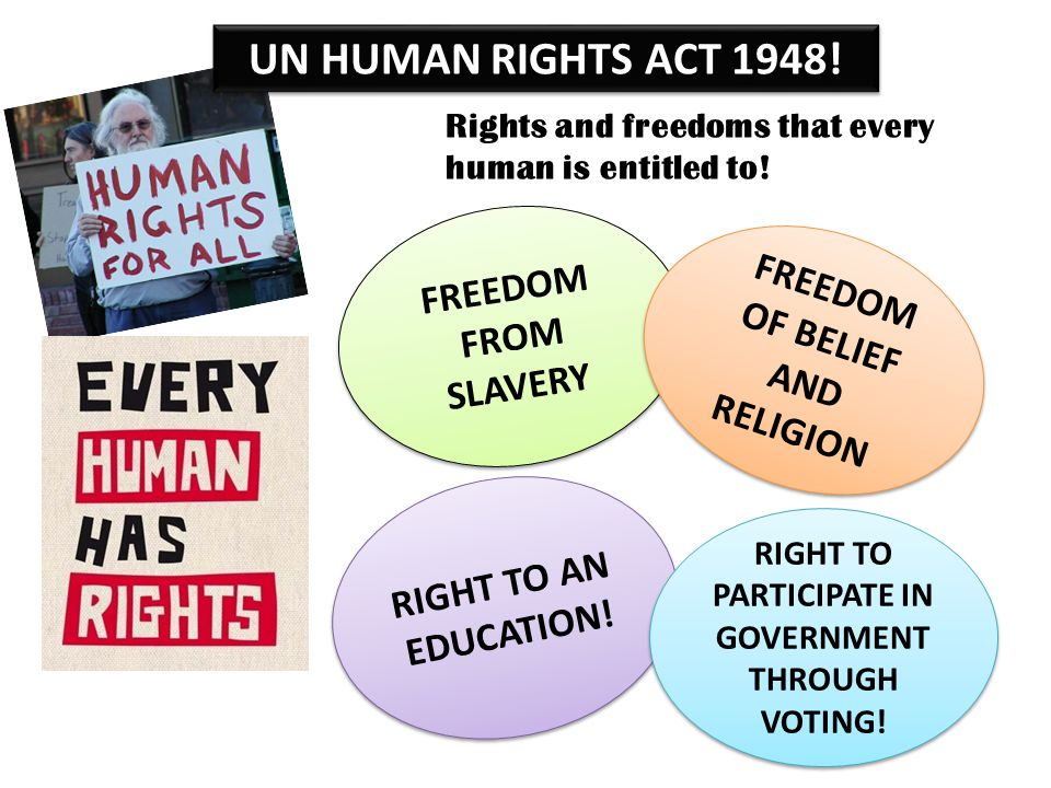 UN HUMAN RIGHTS ACT 1948! FREEDOM FROM SLAVERY