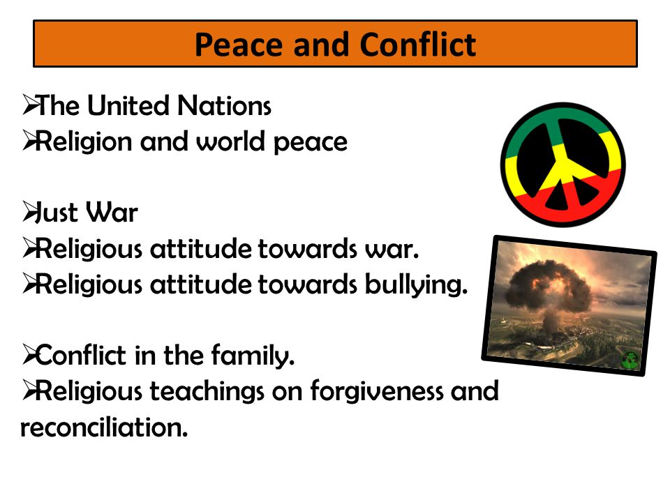 Peace and Conflict The United Nations Religion and world peace