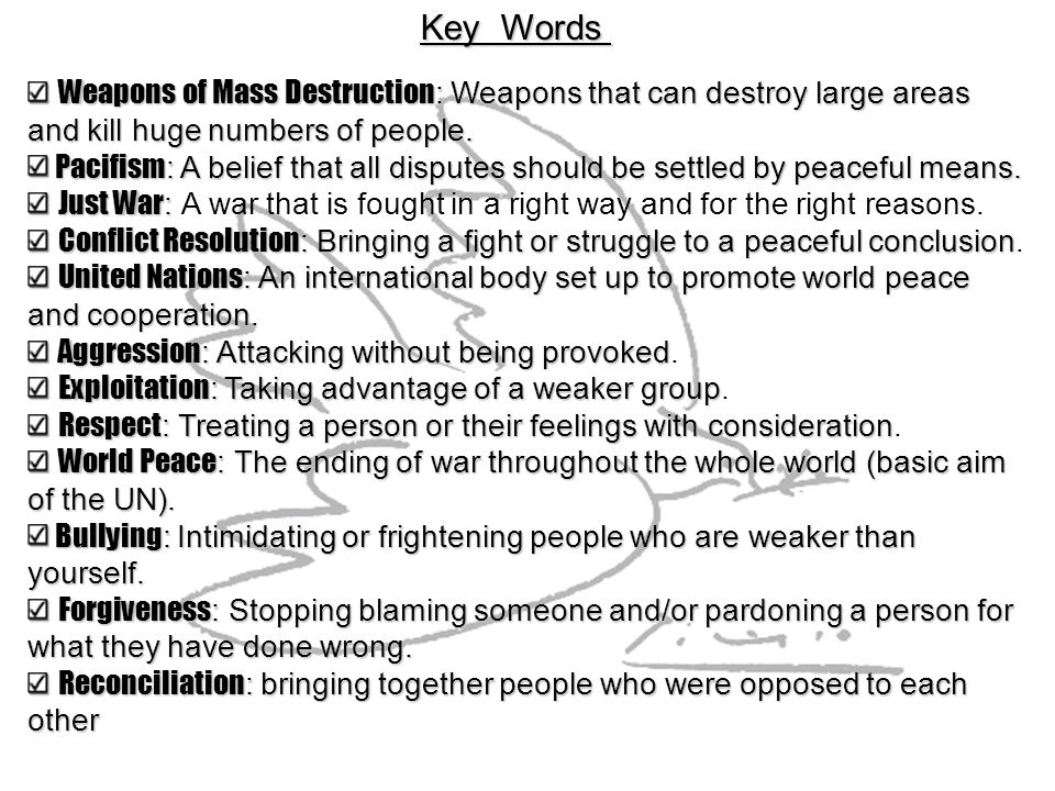 Key Words Weapons of Mass Destruction: Weapons that can destroy large areas. and kill huge numbers of people.