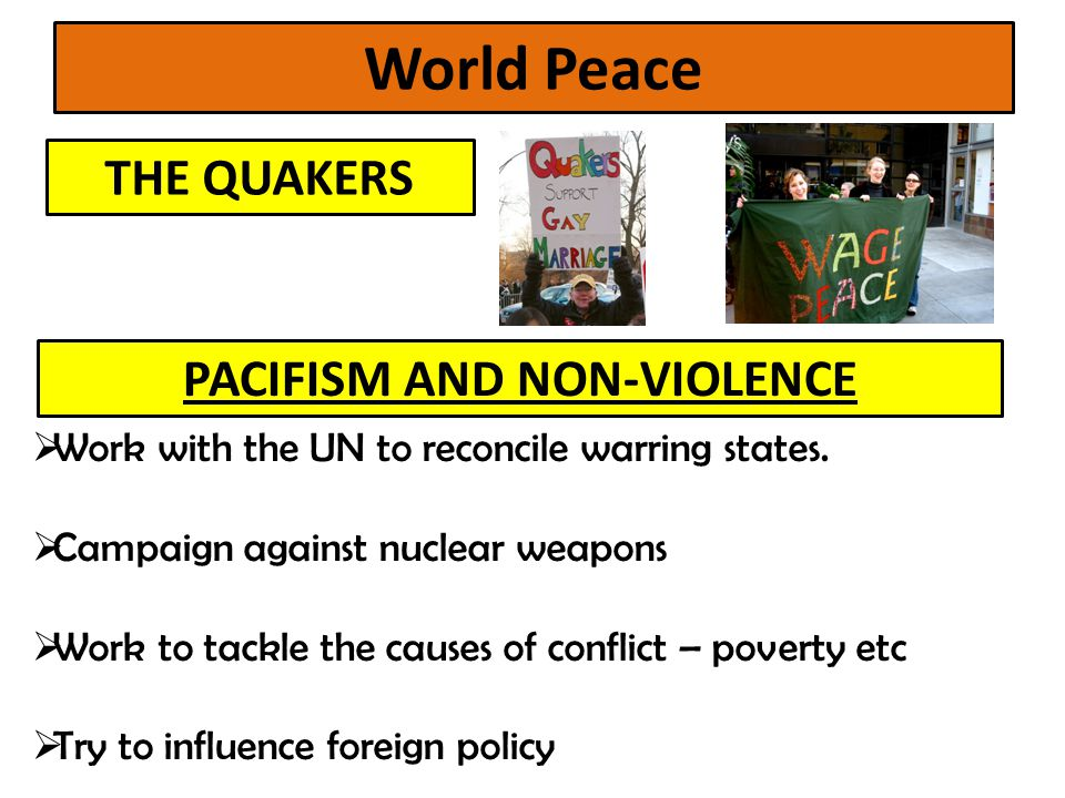 PACIFISM AND NON-VIOLENCE