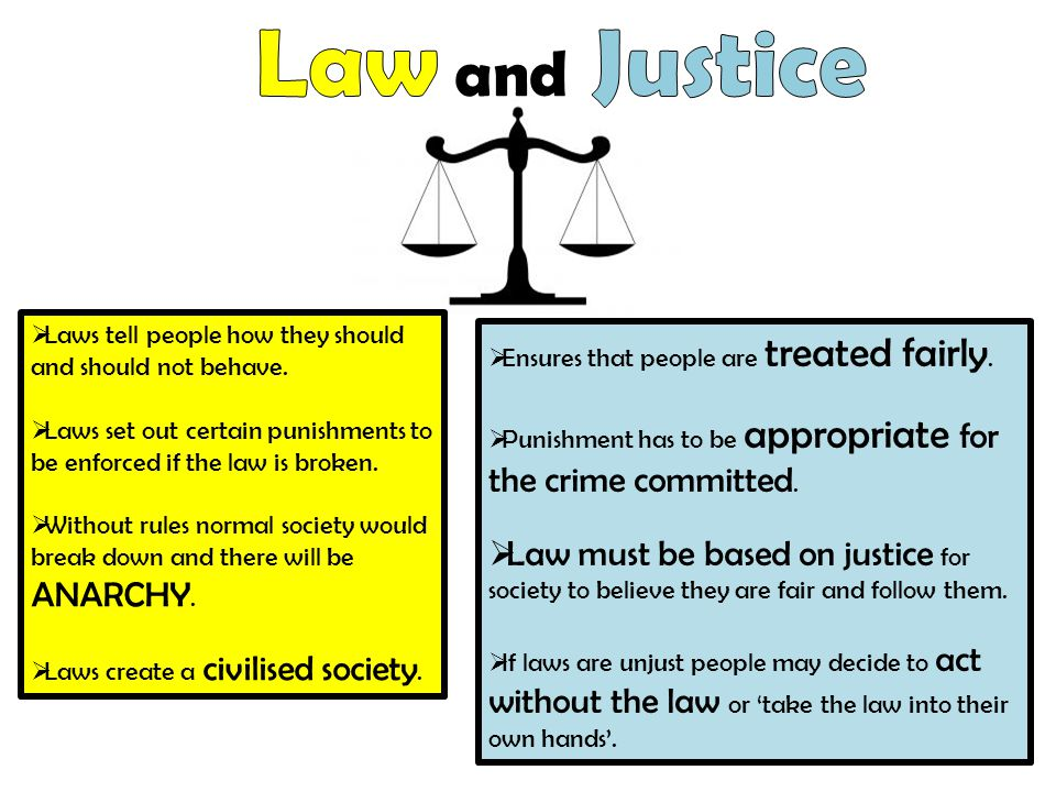Law and Justice Laws tell people how they should and should not behave. Laws set out certain punishments to be enforced if the law is broken.
