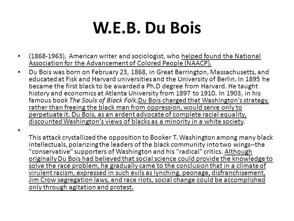 W.E.B. Du Bois (1868-1963), American writer and sociologist, who helped found the National Association for the Advancement of Colored People (NAACP).
