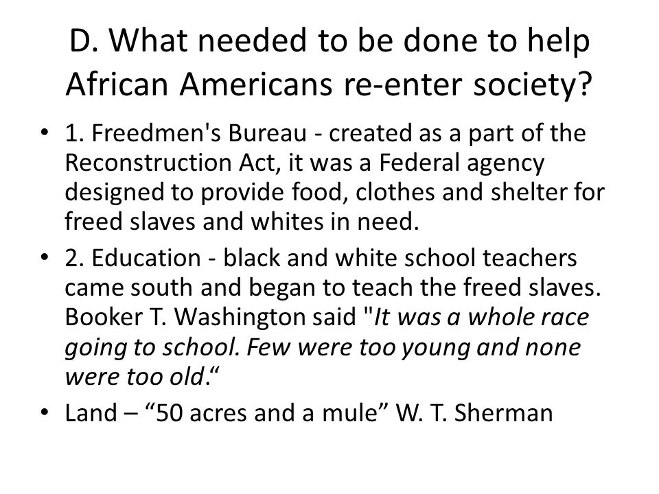 D. What needed to be done to help African Americans re-enter society