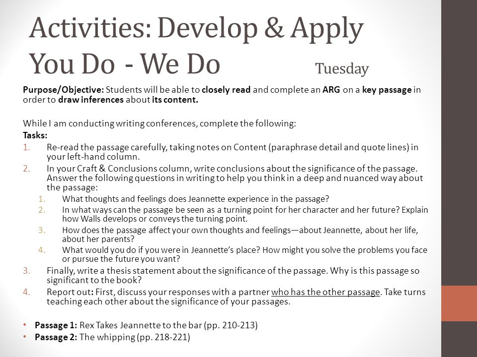 Activities: Develop & Apply You Do - We Do Tuesday