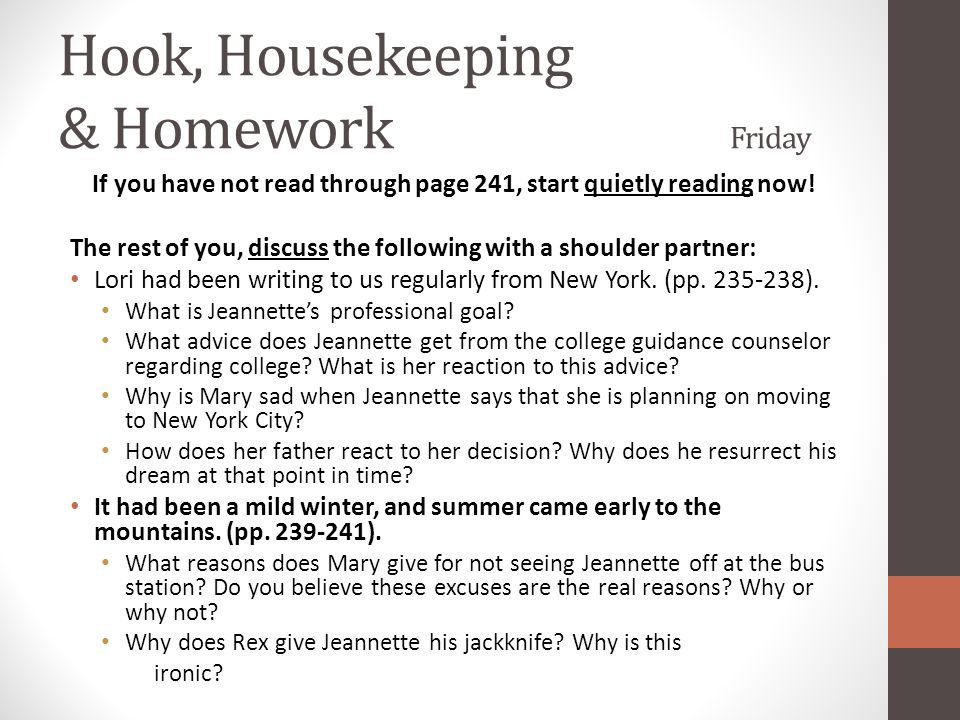 Hook, Housekeeping & Homework Friday