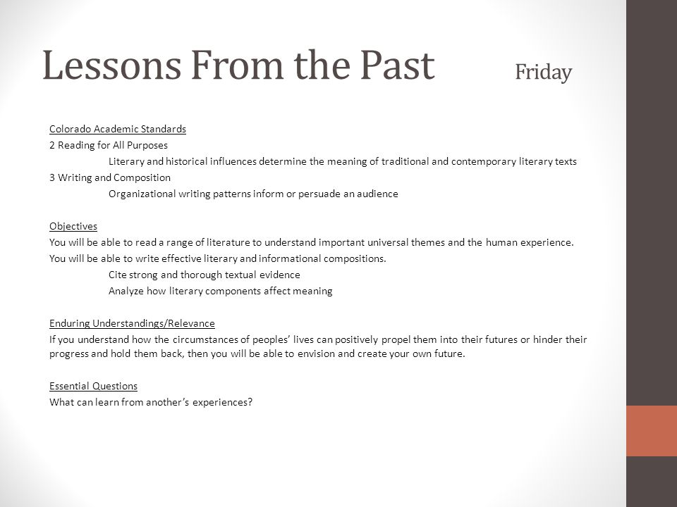 Lessons From the Past Friday