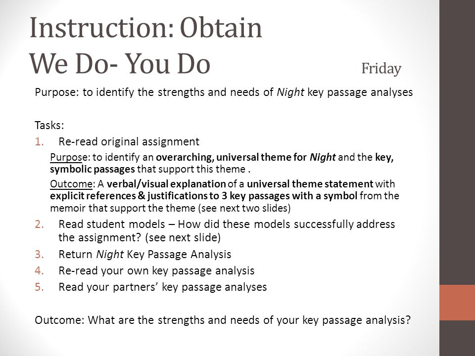 Instruction: Obtain We Do- You Do Friday