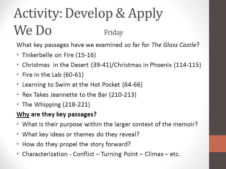 Activity: Develop & Apply We Do Friday