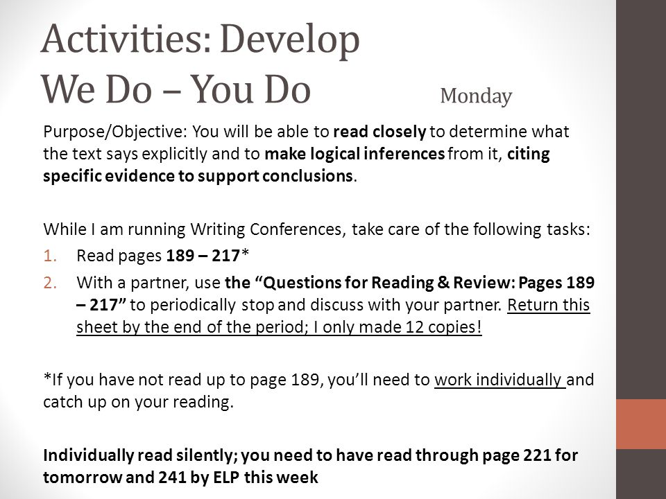 Activities: Develop We Do – You Do Monday