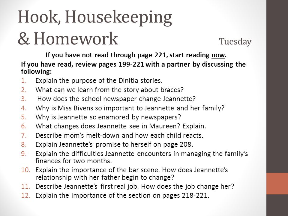 Hook, Housekeeping & Homework Tuesday