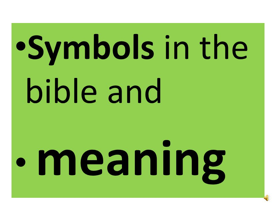 Symbols in the bible and