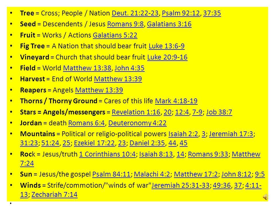Tree = Cross; People / Nation Deut. 21:22-23, Psalm 92:12, 37:35