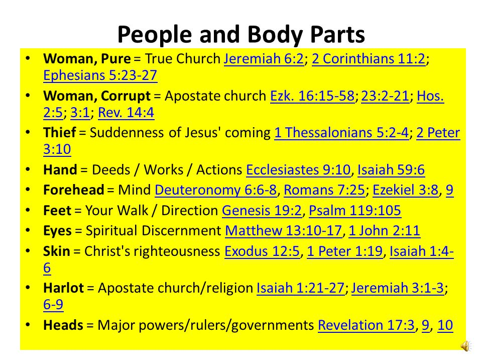 People and Body Parts Woman, Pure = True Church Jeremiah 6:2; 2 Corinthians 11:2; Ephesians 5:23-27.