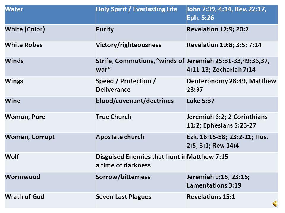 Water Holy Spirit / Everlasting Life. John 7:39, 4:14, Rev. 22:17, Eph. 5:26. White (Color) Purity.