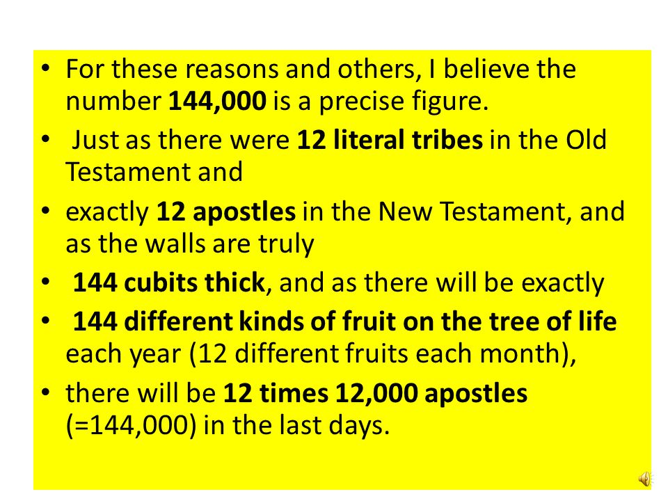 For these reasons and others, I believe the number 144,000 is a precise figure.