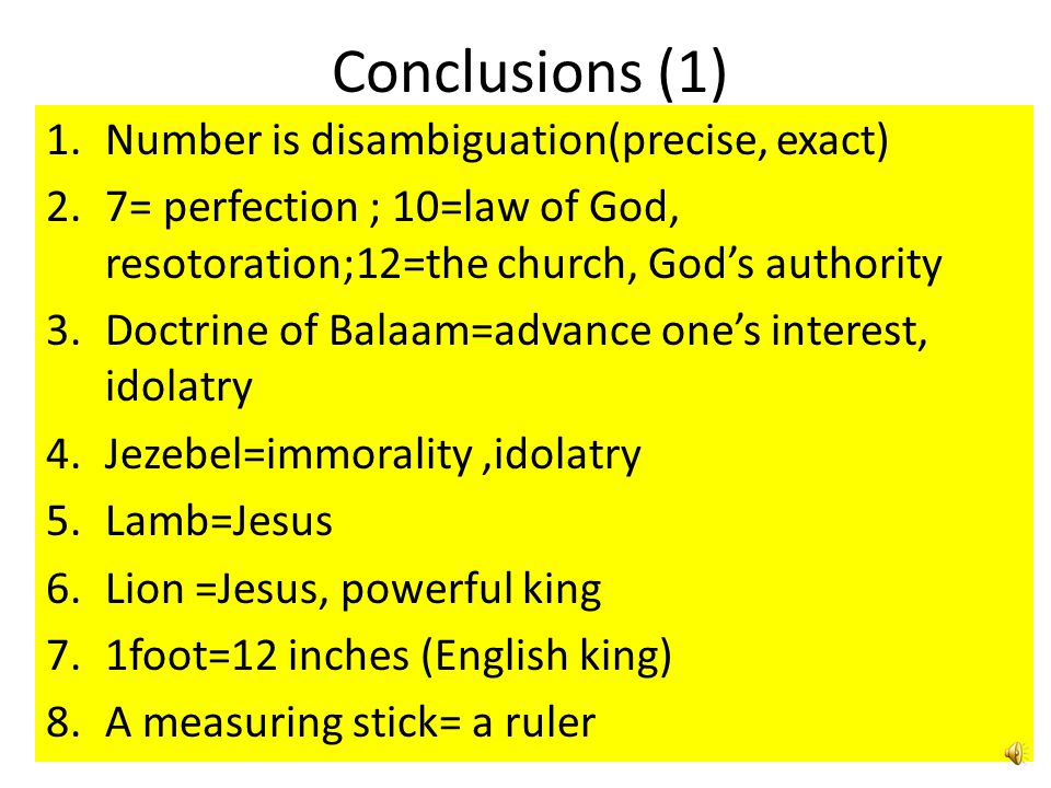 Conclusions (1) Number is disambiguation(precise, exact)