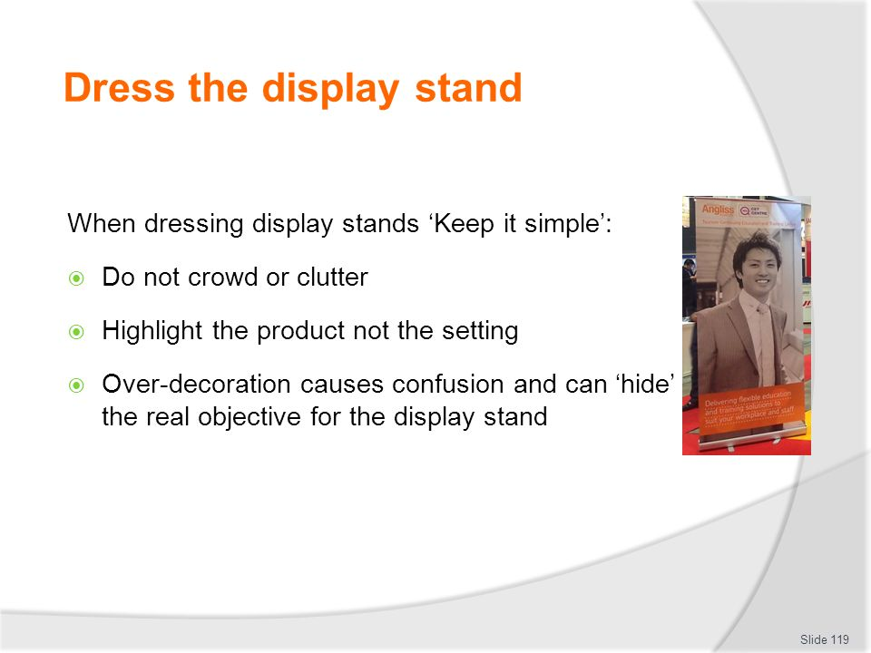 Dress the display stand