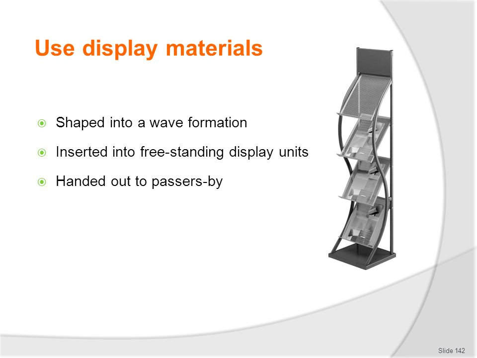Use display materials Shaped into a wave formation
