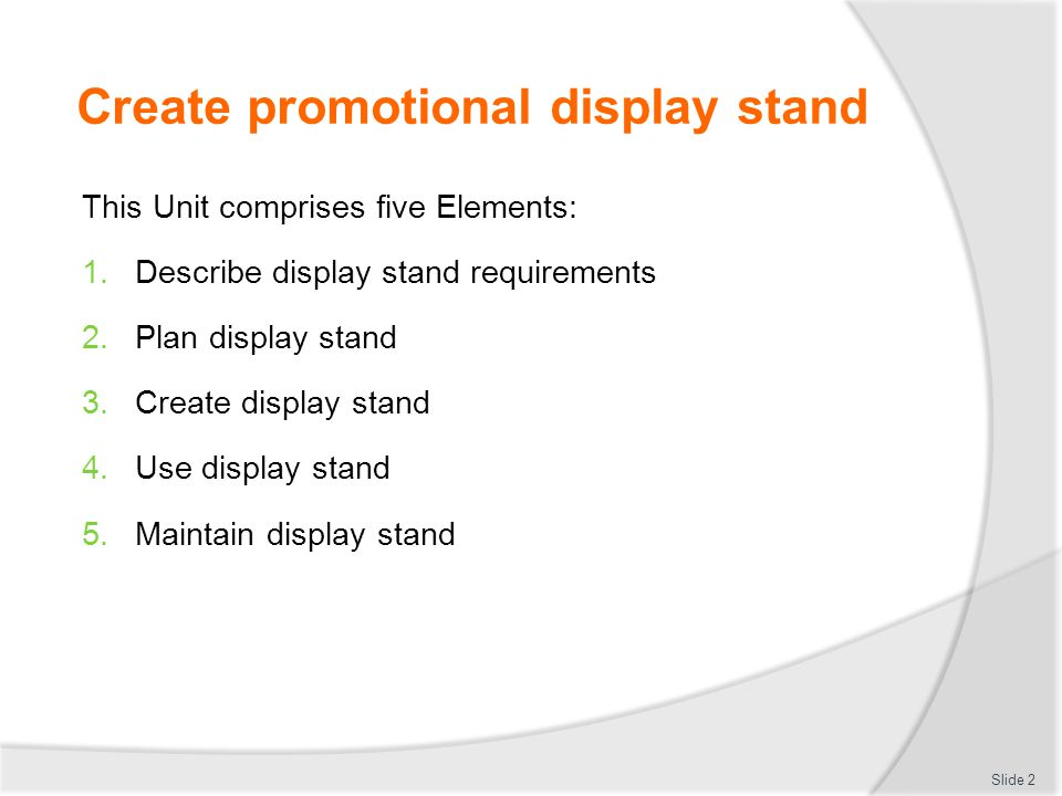 Create promotional display stand